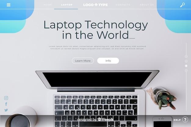 Modèle de page de renvoi de technologie avec photo Vecteur gratuit