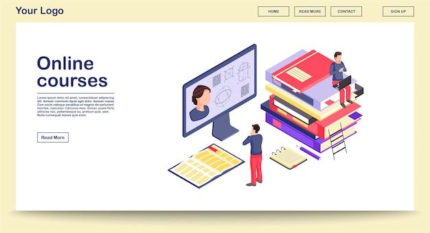 Modèle De Page Web D'éducation En Ligne Avec Illustration Isométrique Vecteur Premium