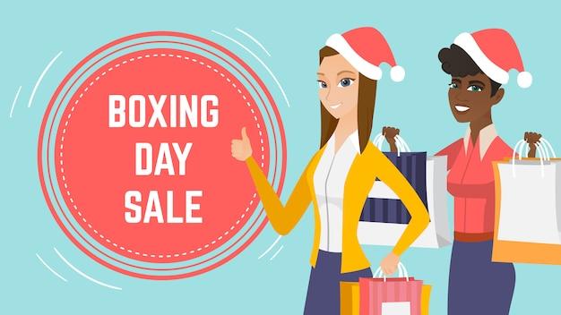 Modèle de page web événement de vente de boxe jour. Vecteur Premium