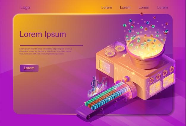 Modèle de page web service de systématisation big data Vecteur Premium