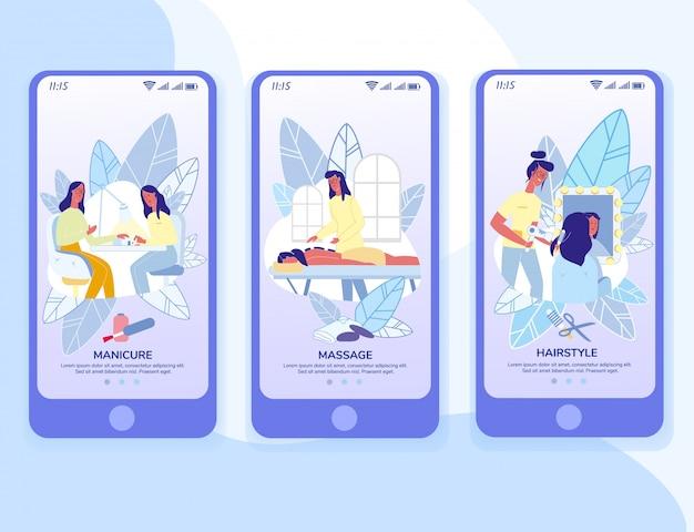 Modèle de pages d'application mobile pour les salons de beauté Vecteur Premium