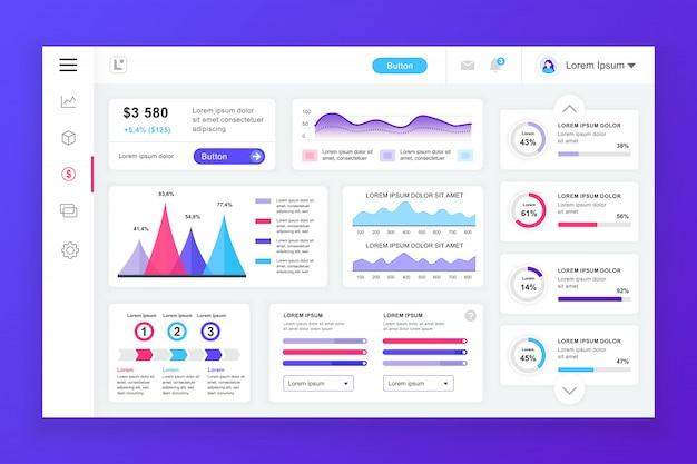 Modèle de panneau d'administration de tableau de bord avec des éléments infographiques Vecteur Premium