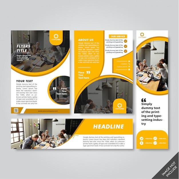 Modèle De Papeterie Jaune. Flyer, Bannière, En-tête Vecteur Premium
