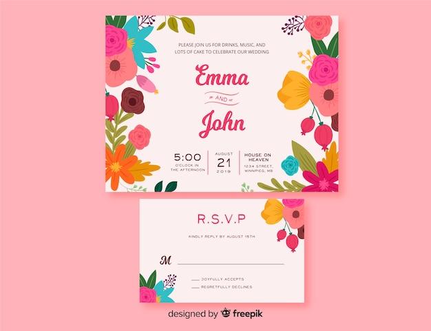 Modèle de papeterie de mariage cadre floral Vecteur gratuit