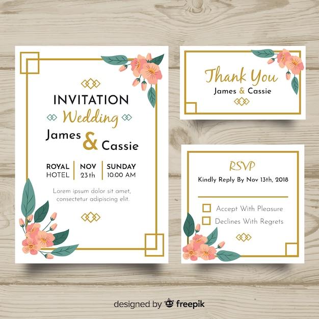 Modèle de papeterie de mariage design plat Vecteur gratuit