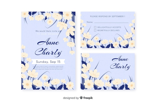 Modèle de papeterie de mariage floral dessiné à la main Vecteur gratuit