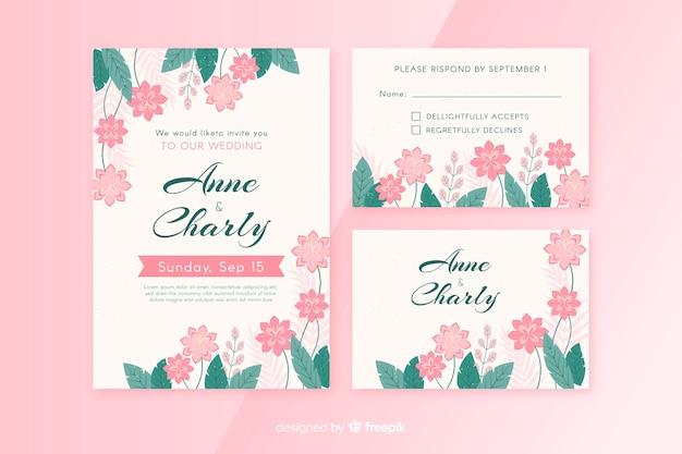 Modèle de papeterie de mariage plat floral Vecteur gratuit