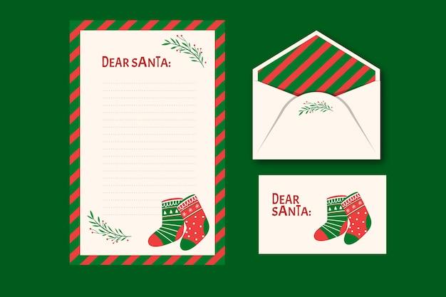 Modèle De Papeterie De Noël Dessiné à La Main Vecteur gratuit