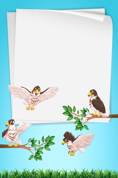 Modèle de papier avec des aigles en arrière-plan Vecteur gratuit