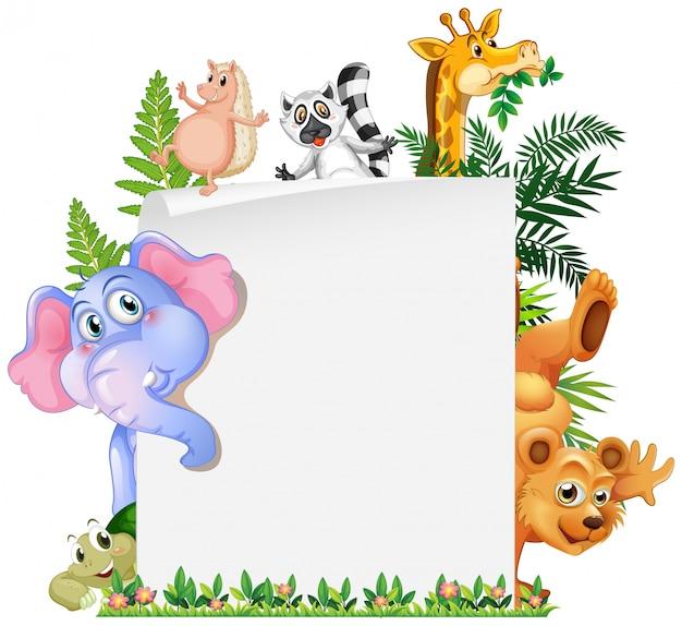 Modèle de papier animal mignon Vecteur gratuit