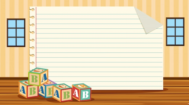 Modèle De Papier Avec Des Blocs De L'alphabet Vecteur Premium