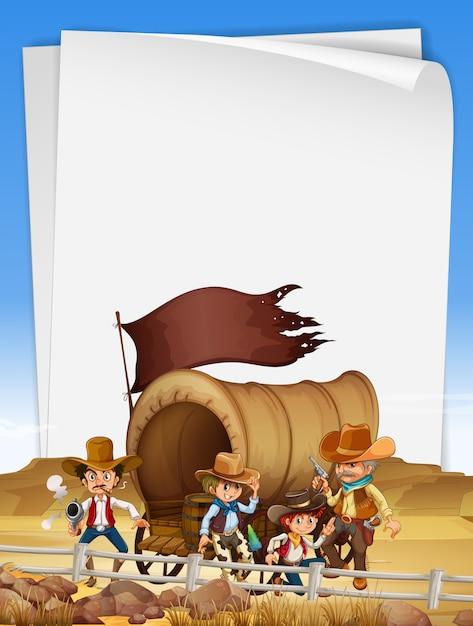 Modèle de papier avec des cow-boys sur le terrain Vecteur Premium