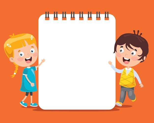 Modèle De Papier Avec Des Enfants Vecteur Premium