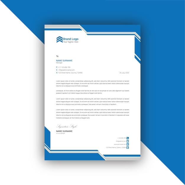 Modèle De Papier à En-tête Abstrait Bleu Et Gris Vecteur Premium