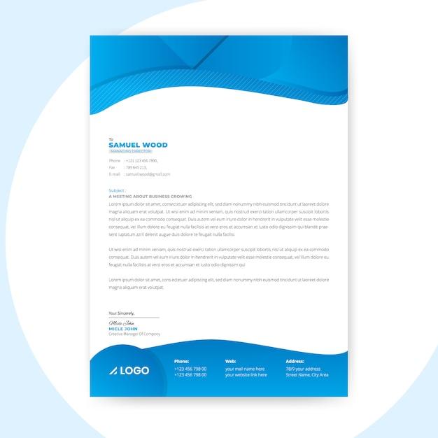 Modèle de papier à en-tête abstrait bleu Vecteur Premium