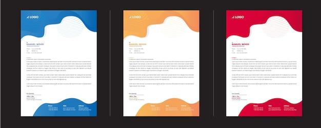 Modèle de papier à en-tête coloré avec une variation de trois couleurs Vecteur Premium