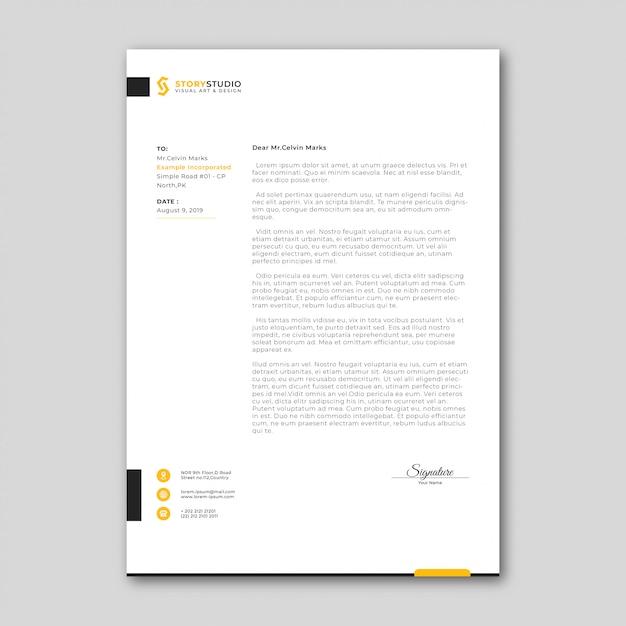 Modèle de papier à en-tête de commerce minimaliste Vecteur Premium