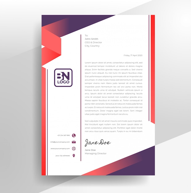 Modèle De Papier à En-tête De Conception De Papier à En-tête Abstrait Vecteur Premium