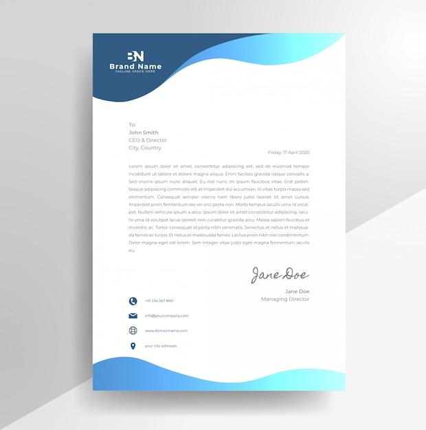 Modèle De Papier à En-tête De Conception De Papier à En-tête Ondulé D'entreprise Vecteur Premium