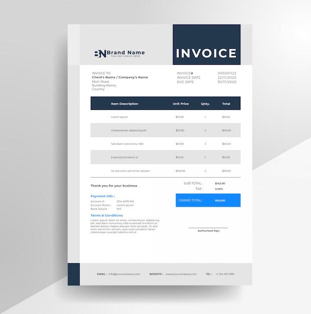 Modèle De Papier à En-tête De Facture D'entreprise Minimaliste Simple Vecteur Premium