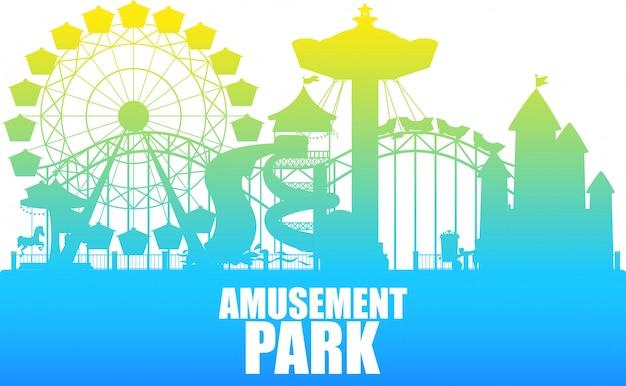 Un modèle de parc d'attractions couleur silhouette Vecteur gratuit