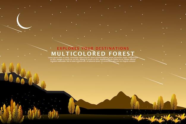 Modèle de paysage de forêt dorée Vecteur Premium