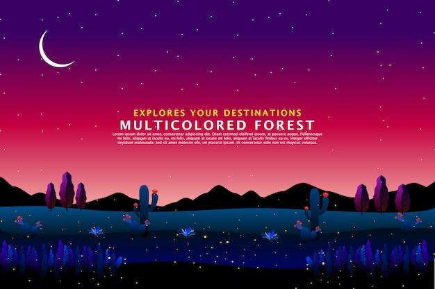 Modèle de paysage de nuit de désert Vecteur Premium