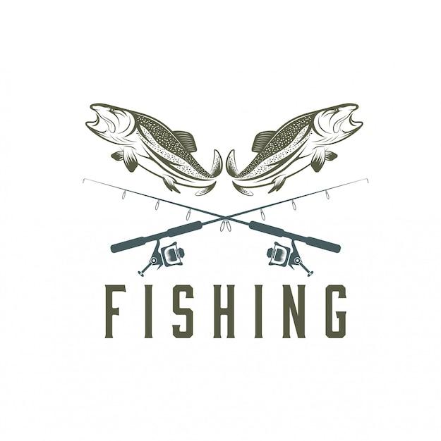 Modèle de pêche vintage Vecteur Premium