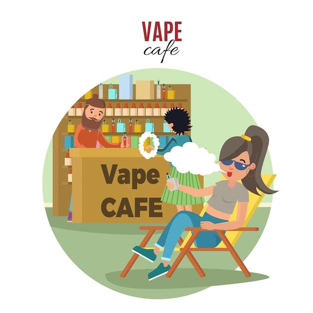 Modèle People In Vape Cafe Vecteur gratuit