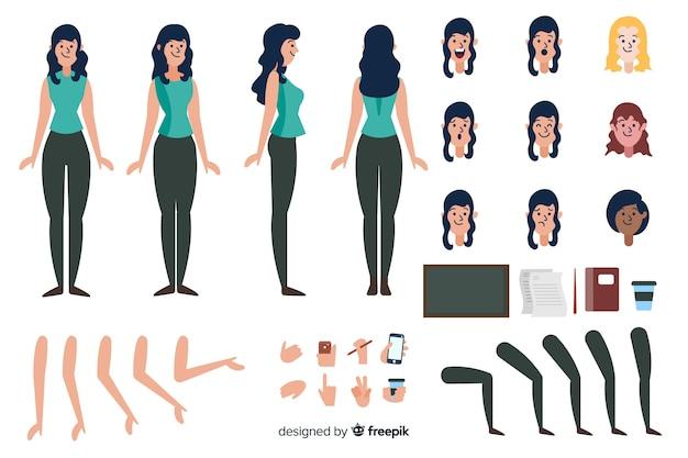Modèle de personnage de dessin animé femme brune Vecteur gratuit