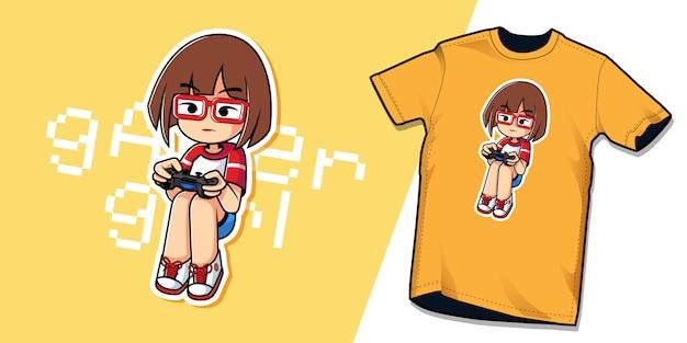 Modèle De Personnage De Tshirt Gamer Girl Vecteur Premium