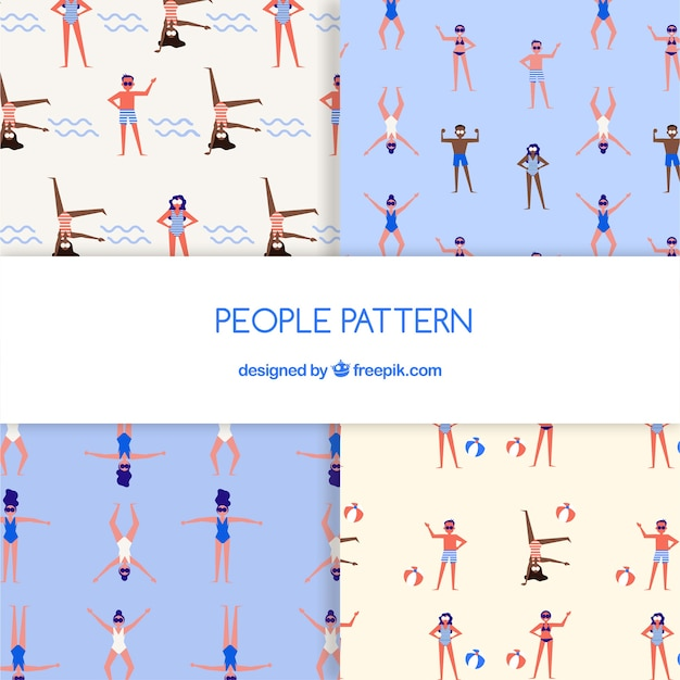Modèle de personnes avec un design plat Vecteur gratuit