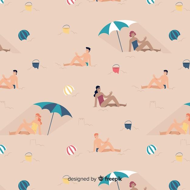 Modèle de personnes à la plage Vecteur gratuit