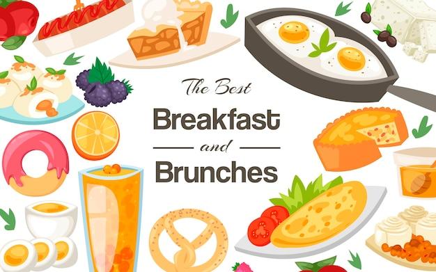 Modèle petit déjeuner et brunch Vecteur Premium