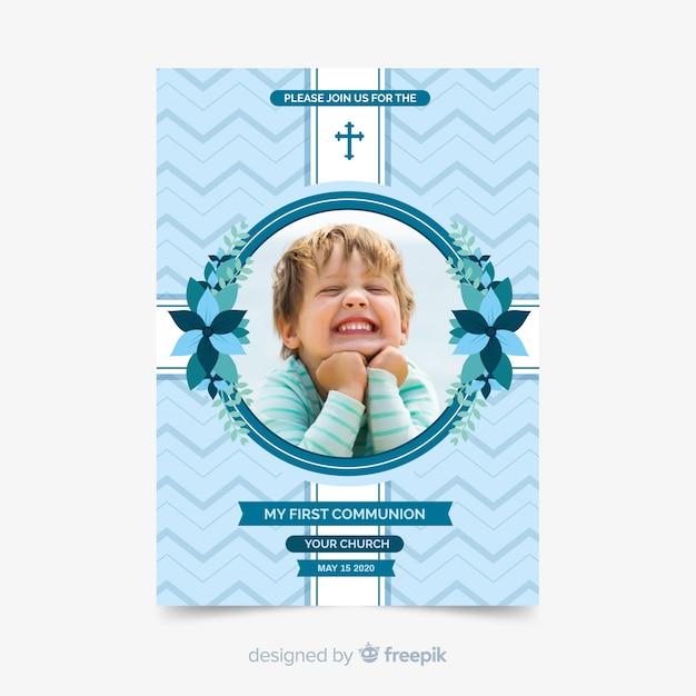 Modèle photographique d'invitation à la première communion Vecteur gratuit