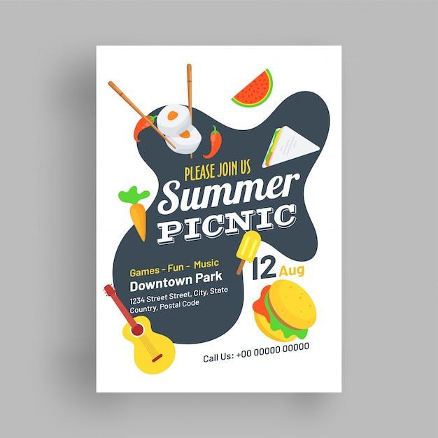 Modèle de pique-nique d'été ou conception de flyer. Vecteur Premium