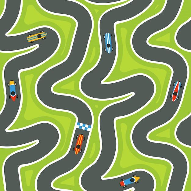 Modèle de piste de course sans faille avec des voitures de course Vecteur Premium