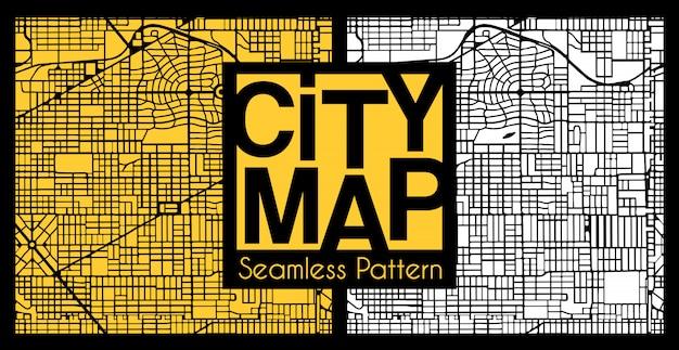 Modèle de plan de ville abstraite sans soudure Vecteur Premium