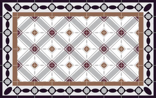 Modèle De Plancher éléments Décoratifs Vintage. Parfait Pour L'impression Sur Papier Ou Tissu. Vecteur Premium