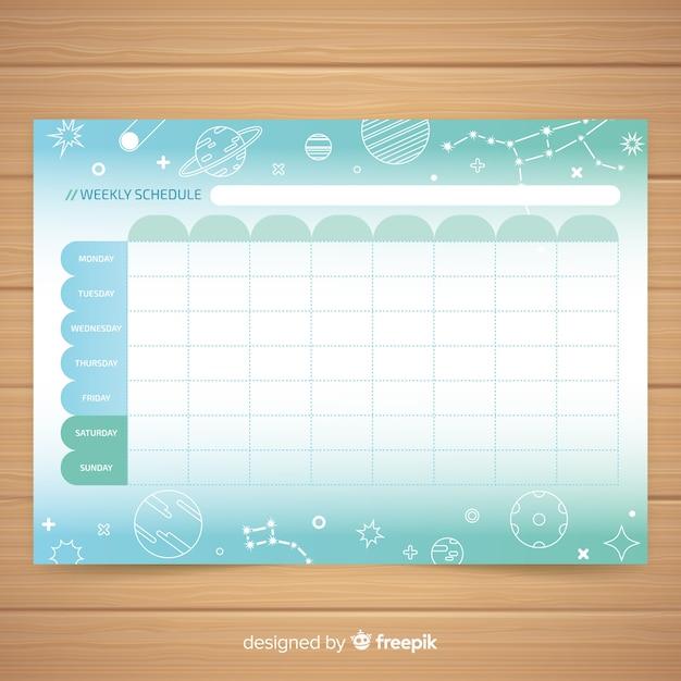 Modèle de planificateur hebdomadaire coloré dessiné à la main Vecteur gratuit