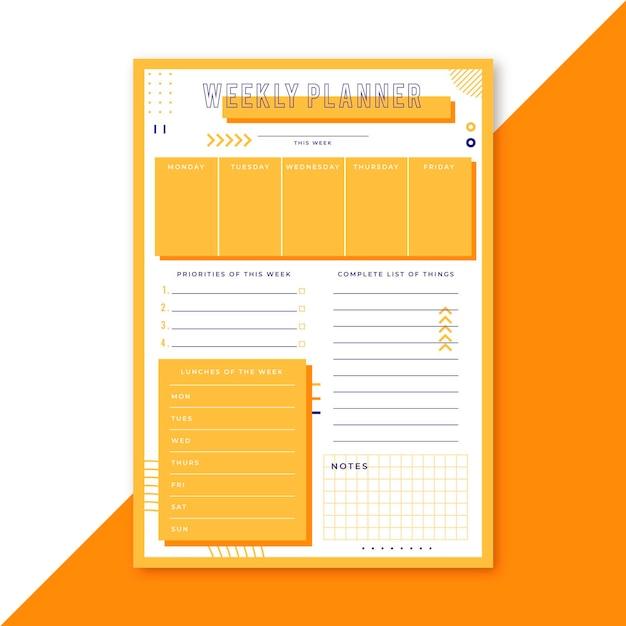 Modèle De Planificateur Hebdomadaire Vecteur gratuit