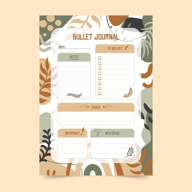 Modèle De Planificateur De Journal De Balle Botanique Vecteur gratuit