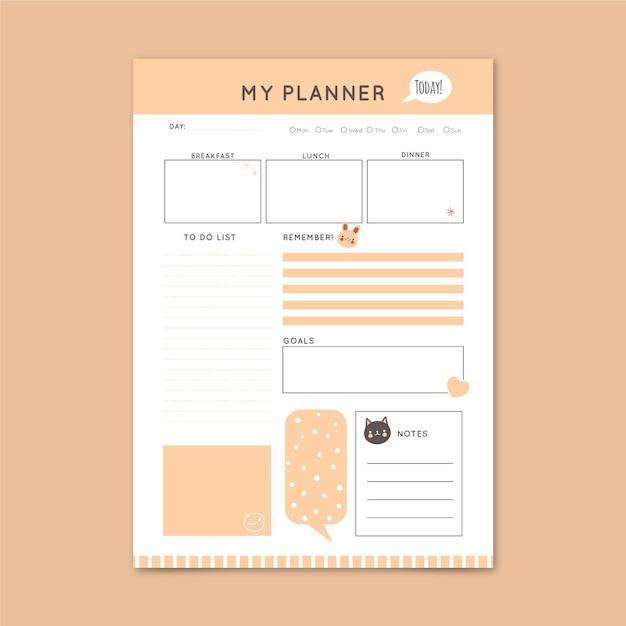 Modèle De Planificateur Quotidien Minimal Vecteur gratuit
