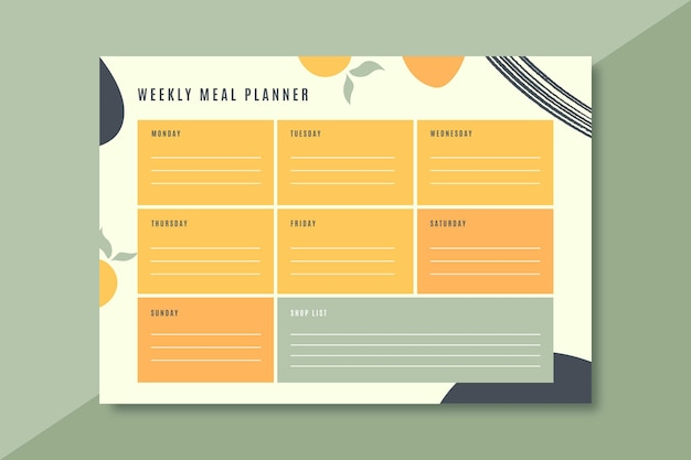 Modèle De Planificateur De Repas Coloré Vecteur gratuit