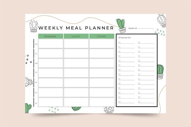Modèle De Planificateur De Repas Vecteur gratuit