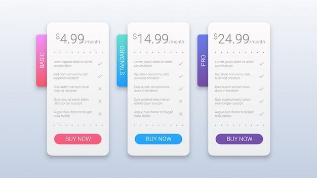 Modèle De Plans De Tarification Colorés Simples Pour Le Web Vecteur Premium