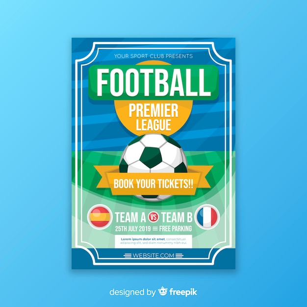 Modèle plat d'affiche de football Vecteur gratuit