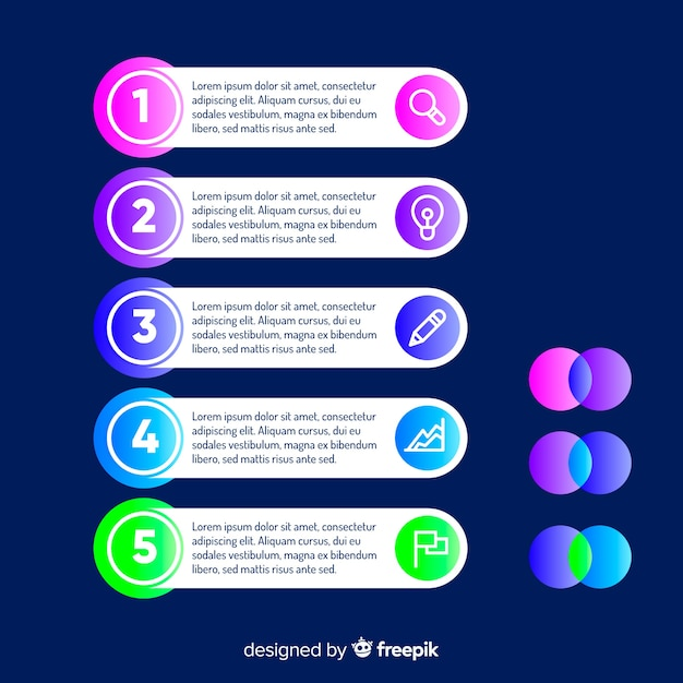 Modèle plat d'étapes d'infographie Vecteur gratuit