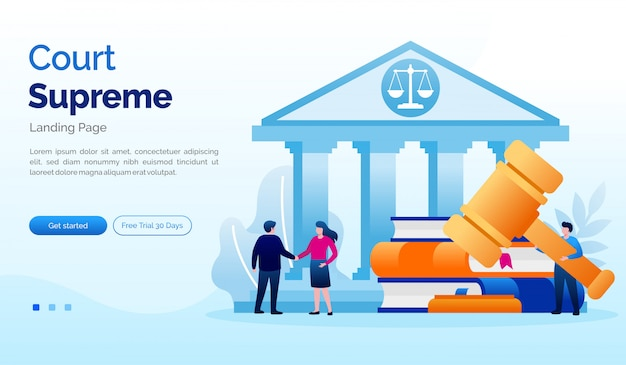 Modèle Plat D'illustration De Site Web De La Cour Suprême De La Page De Destination Vecteur Premium