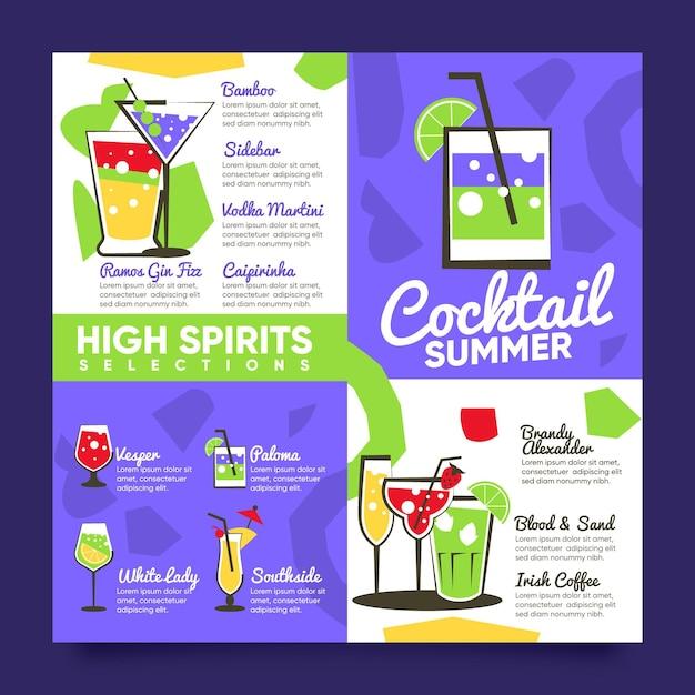 Modèle Plat De Menu De Cocktail Design Vecteur gratuit